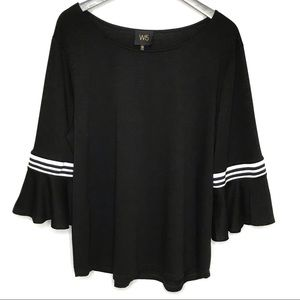 W5 by Anthropologie Black Top With Bell Sleeves